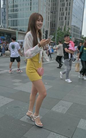 街拍黄短裙凉高美少女 -22P