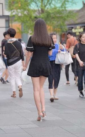 街拍美腿高跟披肩长发美女 -22P