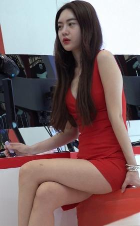 4K 性感高跟红裙美腿showgirl少女
