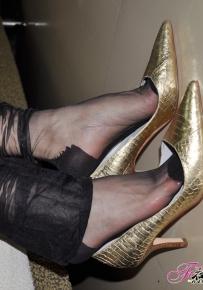 夜媚迷情(黑色纯丝金色船鞋)