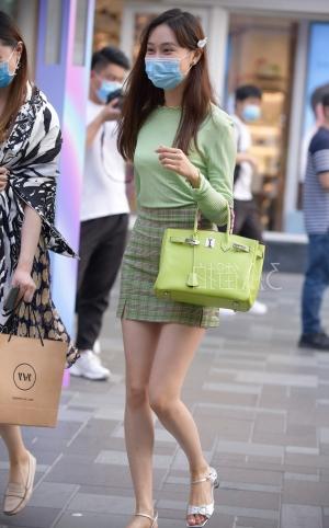 绿格子包臀裙淑女一枚 -8p