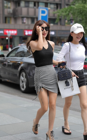 街拍性感包臀裙高跟美女 -20P